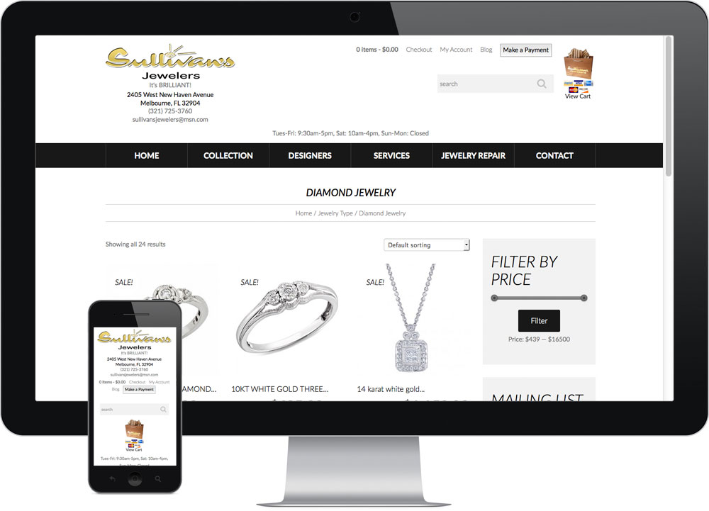 Sullivans Melbourne Ecommerce website