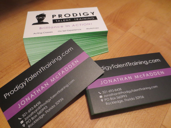 Silk Business Card Design for Prodigy Talent Training Florida - 01