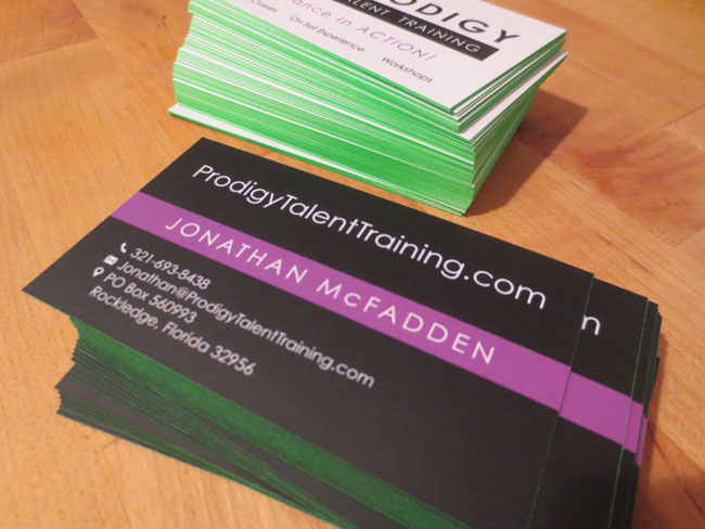 Silk Business Card Design for Prodigy Talent Training Florida - 06