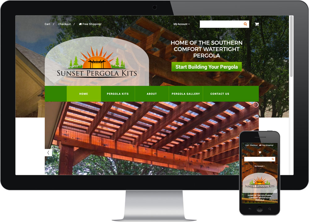 E-commerce Web Design Sunset Pergola Kits
