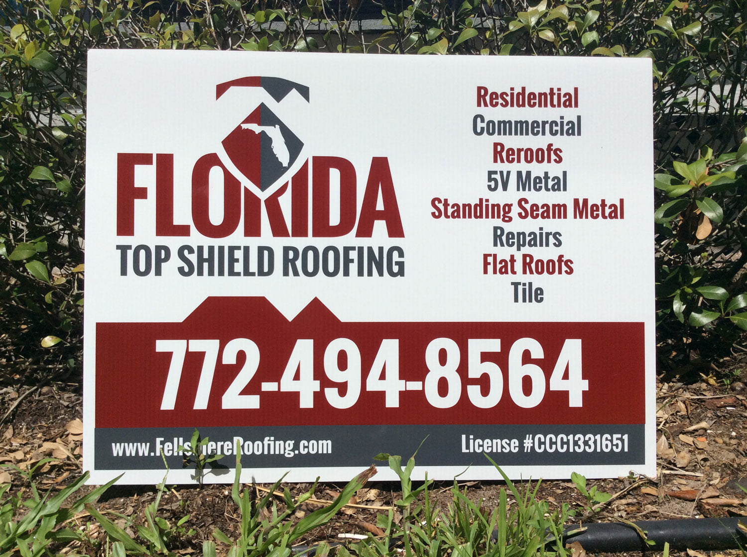Yard Signs: Florida Top Shield Roofing